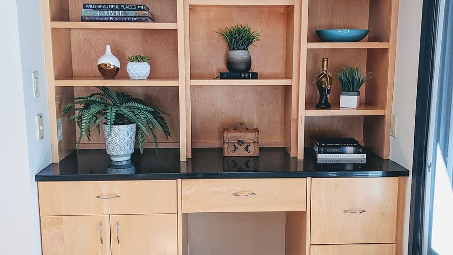 Staged bookcase