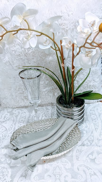 orchids with wine glass