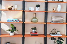 Bookcase staged
