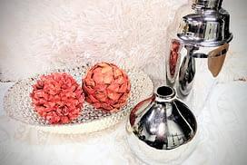 orange balls with silver